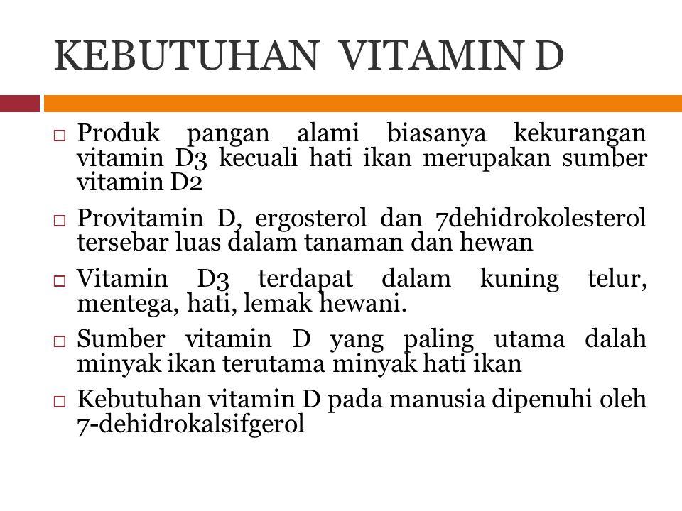 KEBUTUHAN VITAMIN D  Produk pangan alami biasanya kekurangan vitamin D3 kecuali hati ikan merupakan sumber vitamin D2  Provitamin D, ergosterol dan