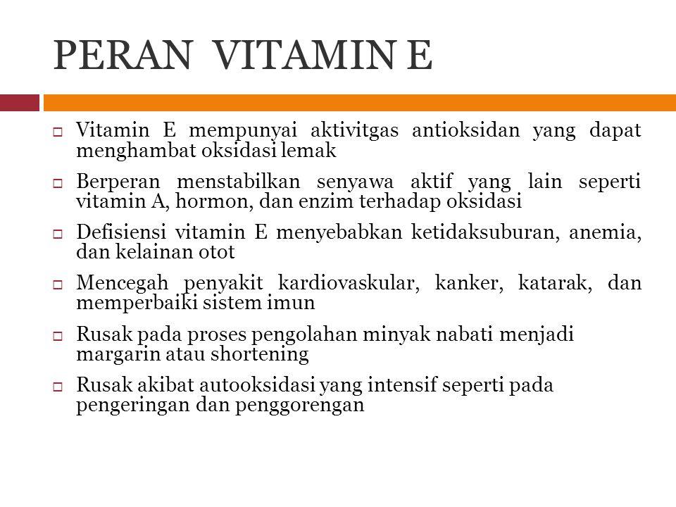 PERAN VITAMIN E  Vitamin E mempunyai aktivitgas antioksidan yang dapat menghambat oksidasi lemak  Berperan menstabilkan senyawa aktif yang lain sepe