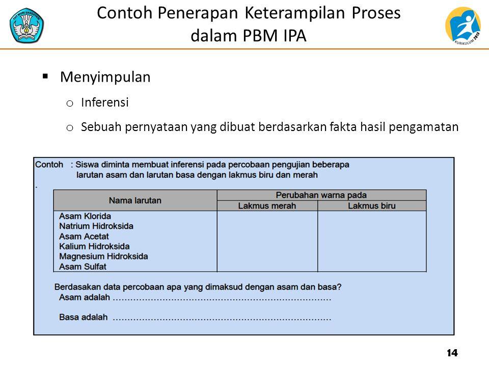 Contoh Penerapan Keterampilan Proses dalam PBM IPA  Menyimpulan o Inferensi o Sebuah pernyataan yang dibuat berdasarkan fakta hasil pengamatan 14