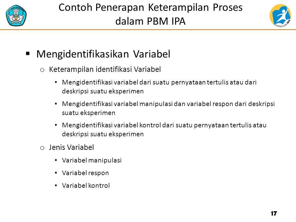 Contoh Penerapan Keterampilan Proses dalam PBM IPA  Mengidentifikasikan Variabel o Keterampilan identifikasi Variabel Mengidentifikasi variabel dari