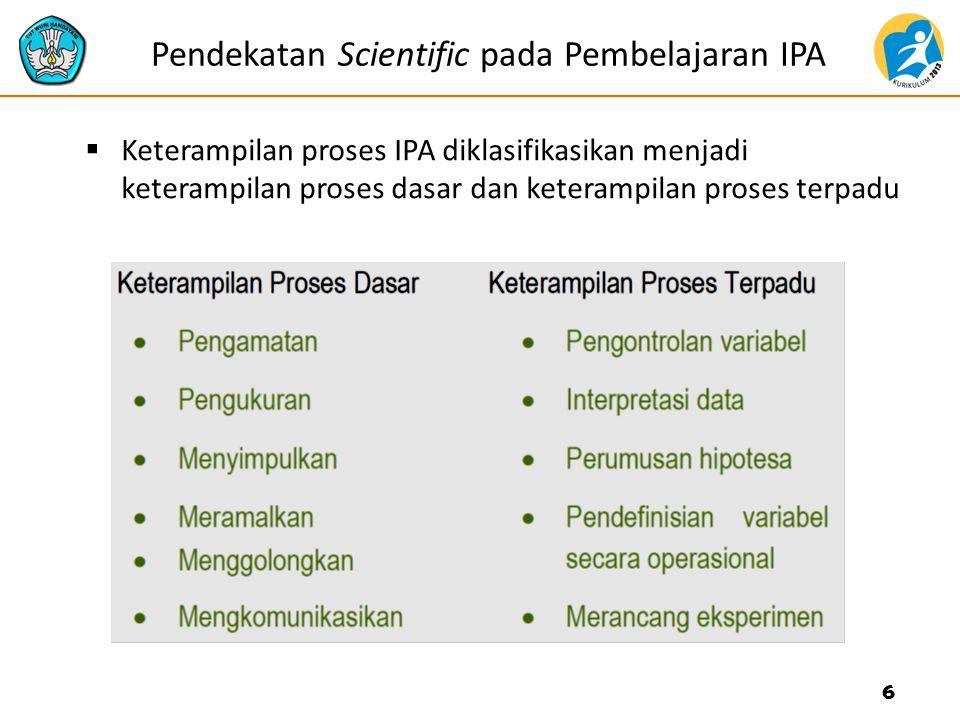 Pendekatan Scientific pada Pembelajaran IPA  Keterampilan proses IPA diklasifikasikan menjadi keterampilan proses dasar dan keterampilan proses terpa