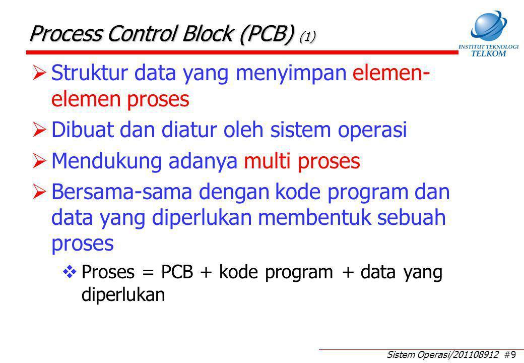 Sistem Operasi/201108912 #9 Process Control Block (PCB) (1)  Struktur data yang menyimpan elemen- elemen proses  Dibuat dan diatur oleh sistem opera