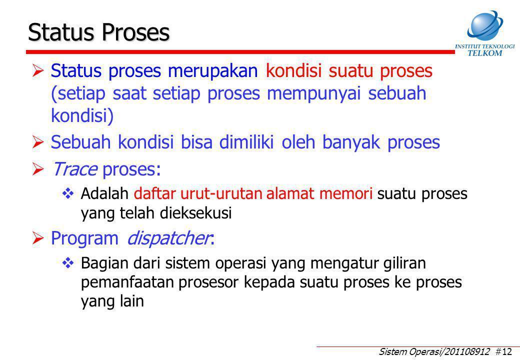 Sistem Operasi/201108912 #12 Status Proses  Status proses merupakan kondisi suatu proses (setiap saat setiap proses mempunyai sebuah kondisi)  Sebua