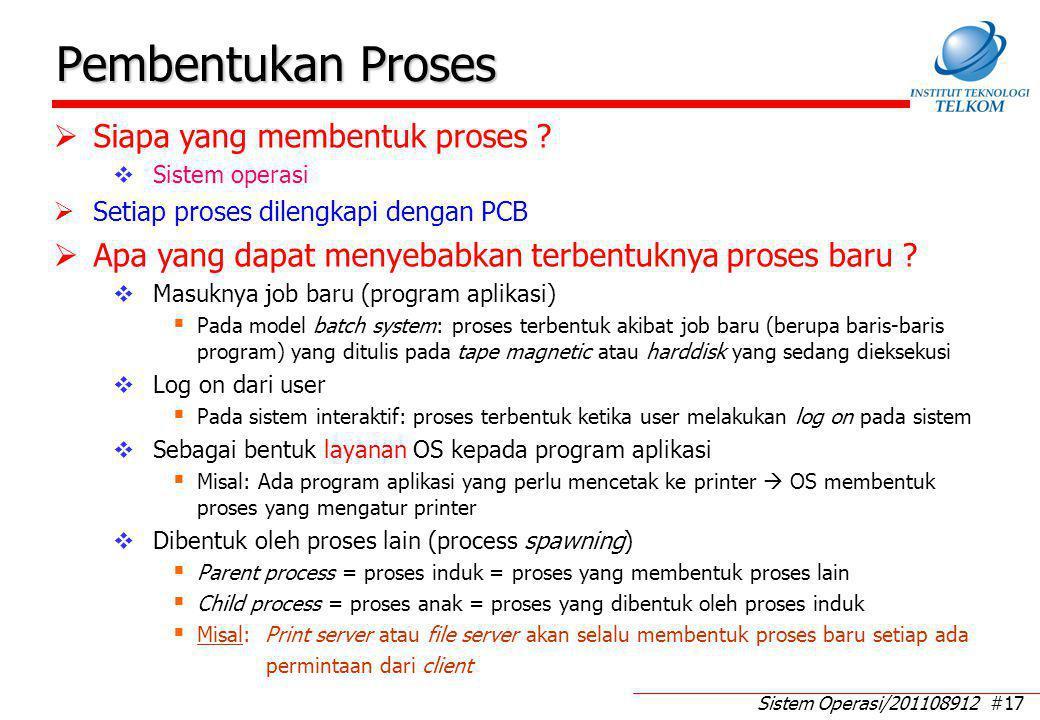 Sistem Operasi/201108912 #17 Pembentukan Proses  Siapa yang membentuk proses ?  Sistem operasi  Setiap proses dilengkapi dengan PCB  Apa yang dapa