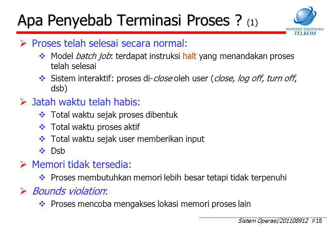 Sistem Operasi/201108912 #18 Apa Penyebab Terminasi Proses ? (1)  Proses telah selesai secara normal:  Model batch job: terdapat instruksi halt yang