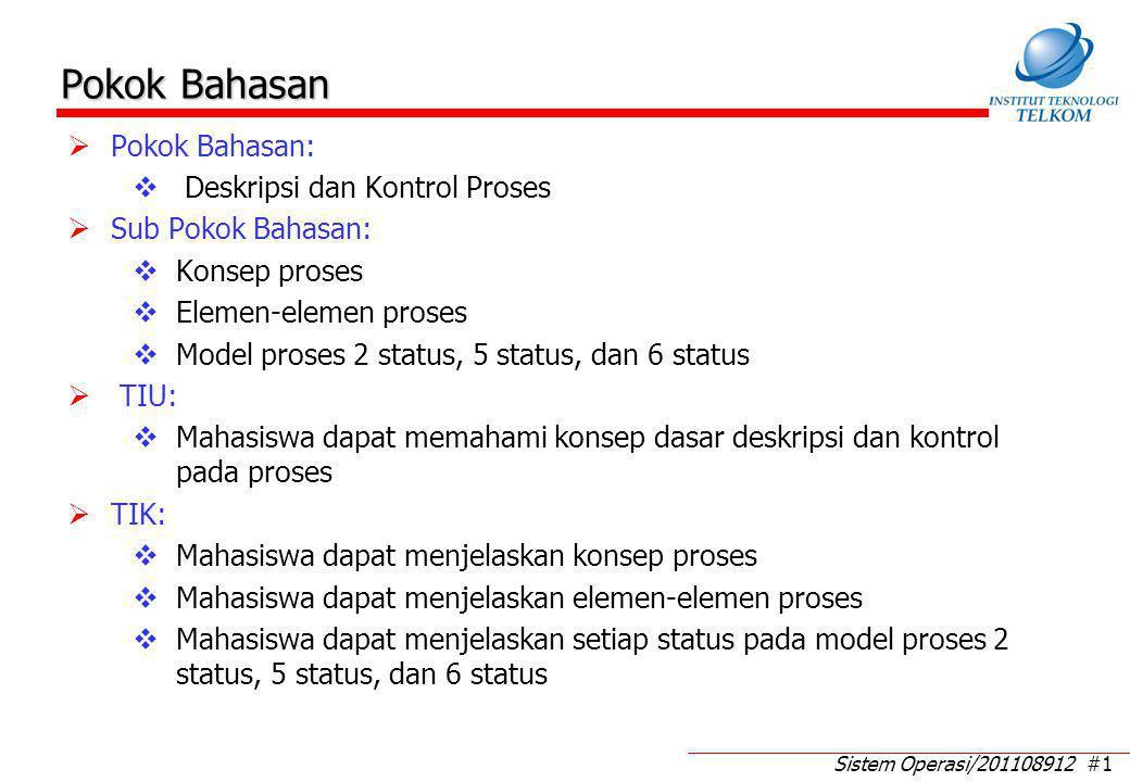 Sistem Operasi/201108912 #1 Pokok Bahasan  Pokok Bahasan:  Deskripsi dan Kontrol Proses  Sub Pokok Bahasan:  Konsep proses  Elemen-elemen proses