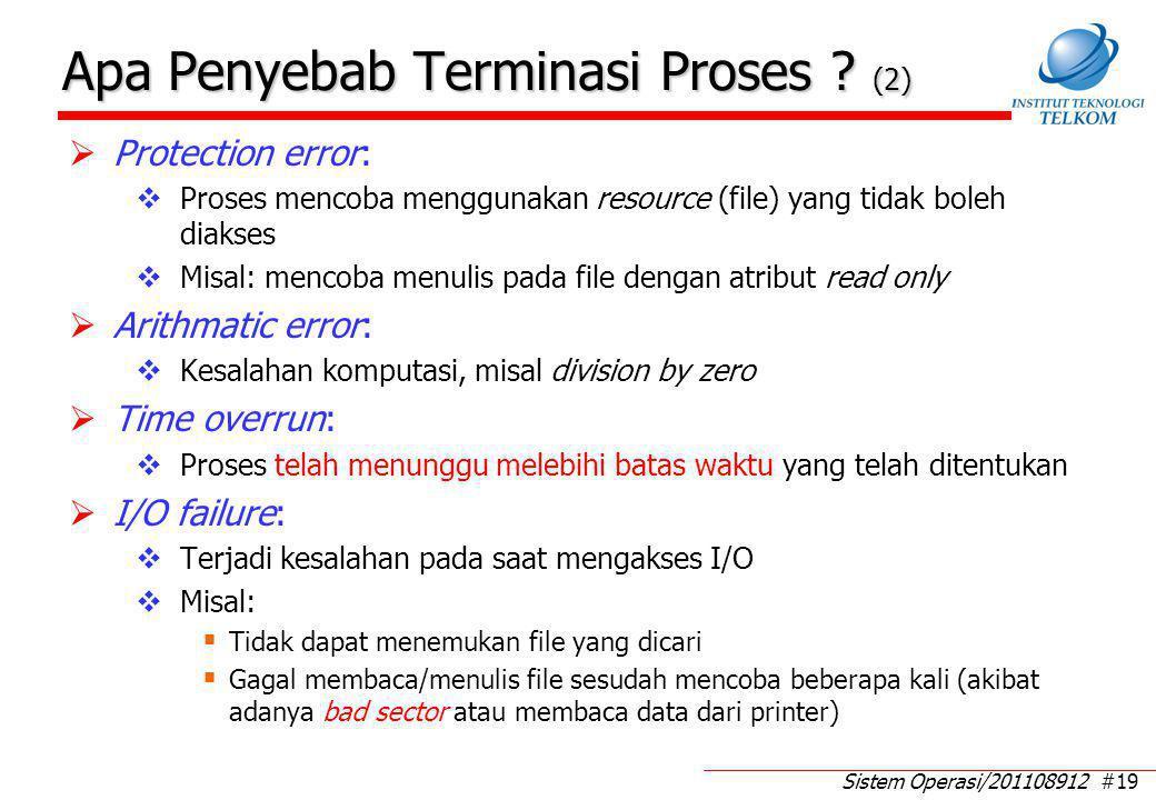 Sistem Operasi/201108912 #19 Apa Penyebab Terminasi Proses ? (2)  Protection error:  Proses mencoba menggunakan resource (file) yang tidak boleh dia