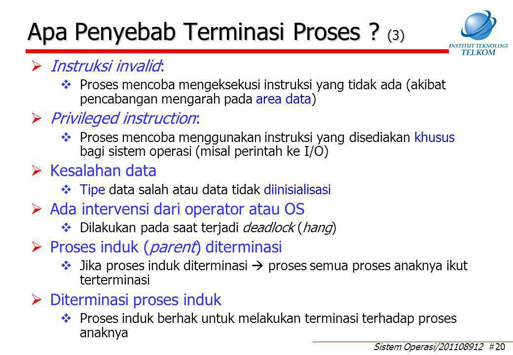 Sistem Operasi/201108912 #20 Apa Penyebab Terminasi Proses ? (3)  Instruksi invalid:  Proses mencoba mengeksekusi instruksi yang tidak ada (akibat p