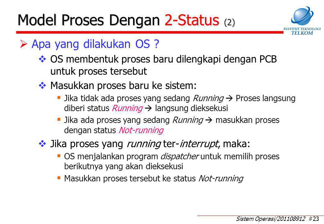 Sistem Operasi/201108912 #23 Model Proses Dengan 2-Status (2)  Apa yang dilakukan OS ?  OS membentuk proses baru dilengkapi dengan PCB untuk proses