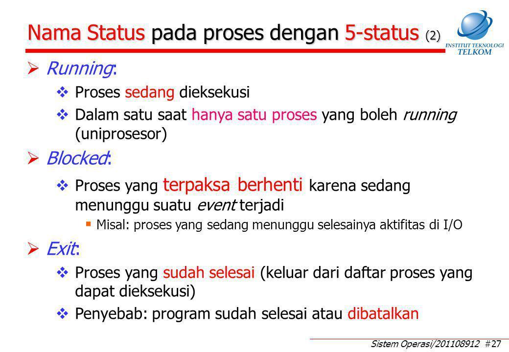 Sistem Operasi/201108912 #27 Nama Status pada proses dengan 5-status (2)  Running:  Proses sedang dieksekusi  Dalam satu saat hanya satu proses yan