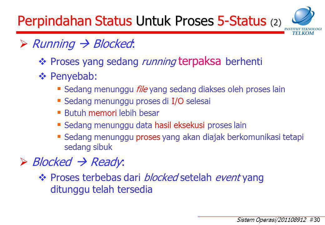 Sistem Operasi/201108912 #30 Perpindahan Status Untuk Proses 5-Status (2)  Running  Blocked:  Proses yang sedang running terpaksa berhenti  Penyeb