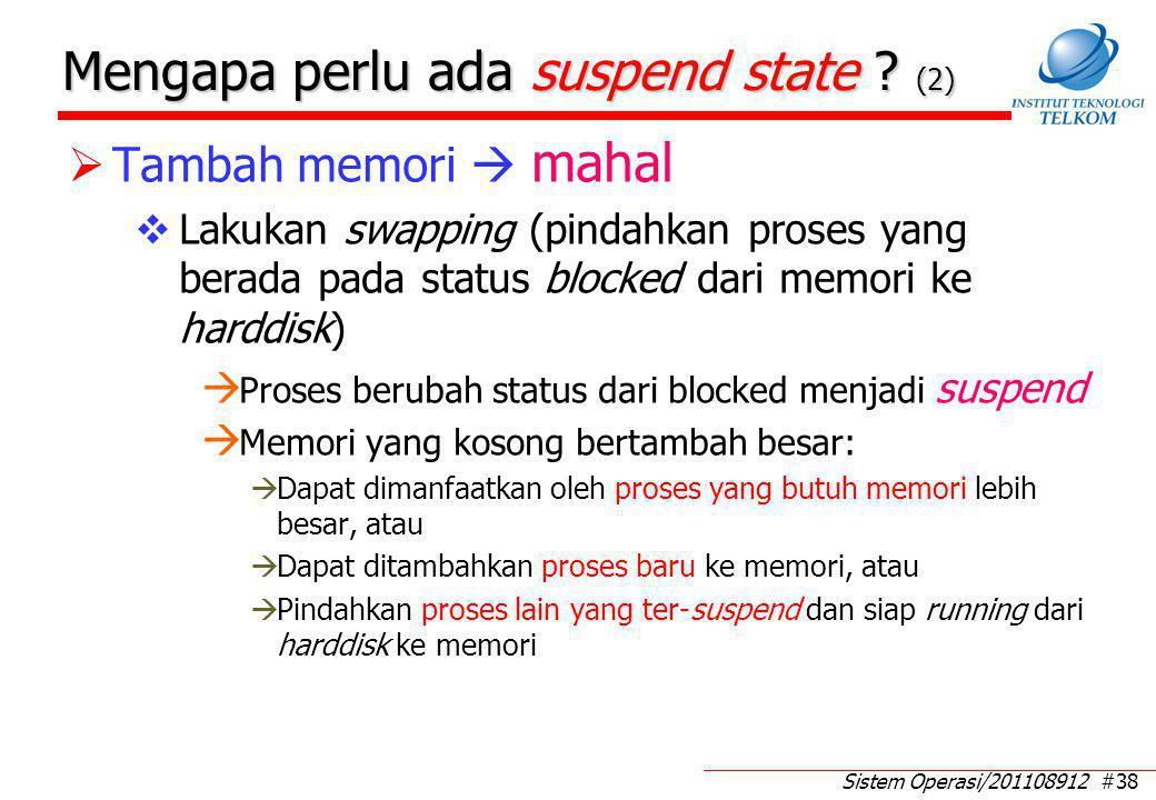Sistem Operasi/201108912 #38 Mengapa perlu ada suspend state ? (2)  Tambah memori  mahal  Lakukan swapping (pindahkan proses yang berada pada statu