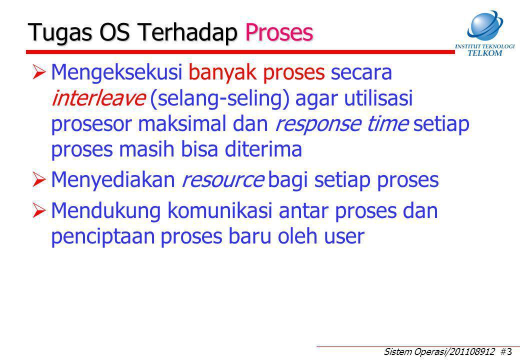 Sistem Operasi/201108912 #3 Tugas OS Terhadap Proses  Mengeksekusi banyak proses secara interleave (selang-seling) agar utilisasi prosesor maksimal d