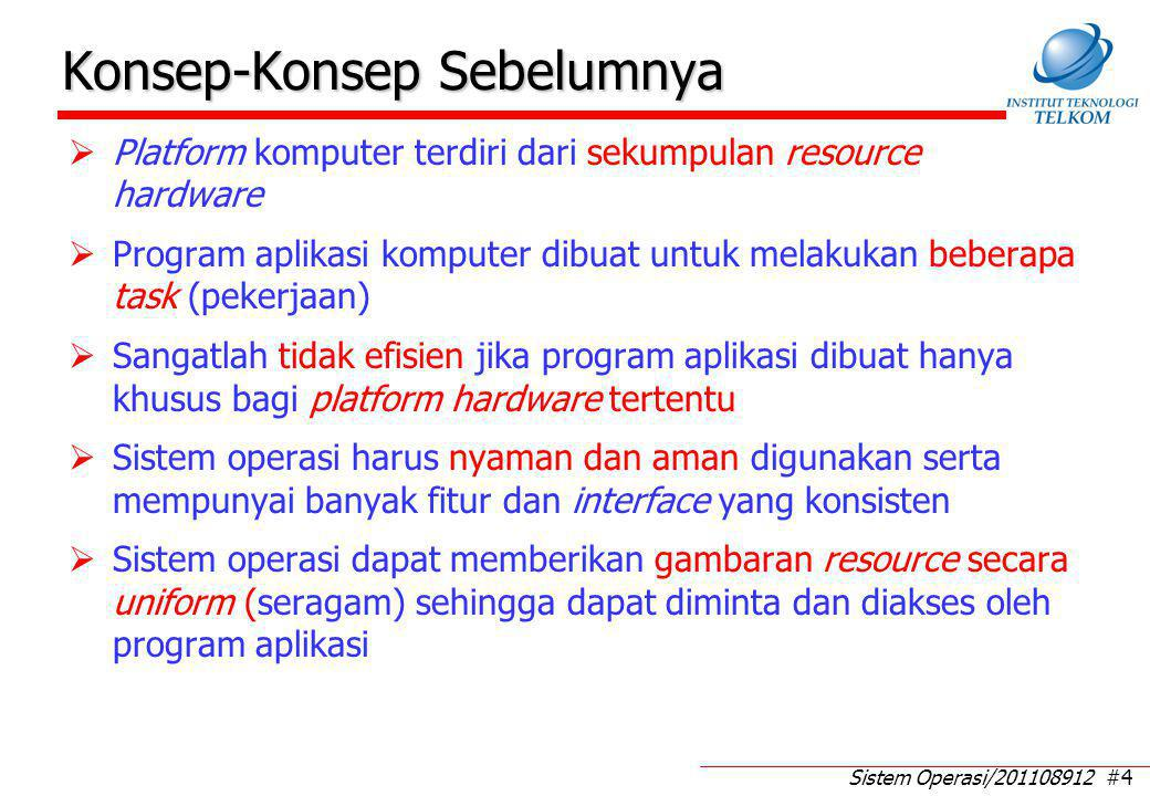 Sistem Operasi/201108912 #4 Konsep-Konsep Sebelumnya  Platform komputer terdiri dari sekumpulan resource hardware  Program aplikasi komputer dibuat