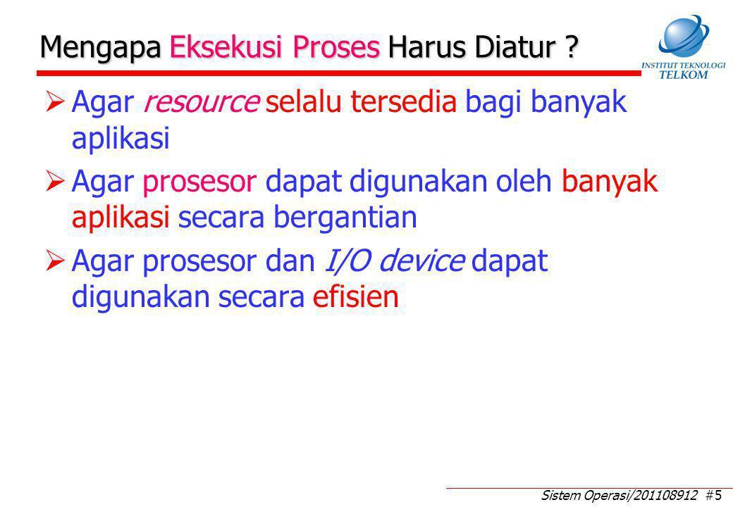 Sistem Operasi/201108912 #5 Mengapa Eksekusi Proses Harus Diatur ?  Agar resource selalu tersedia bagi banyak aplikasi  Agar prosesor dapat digunaka
