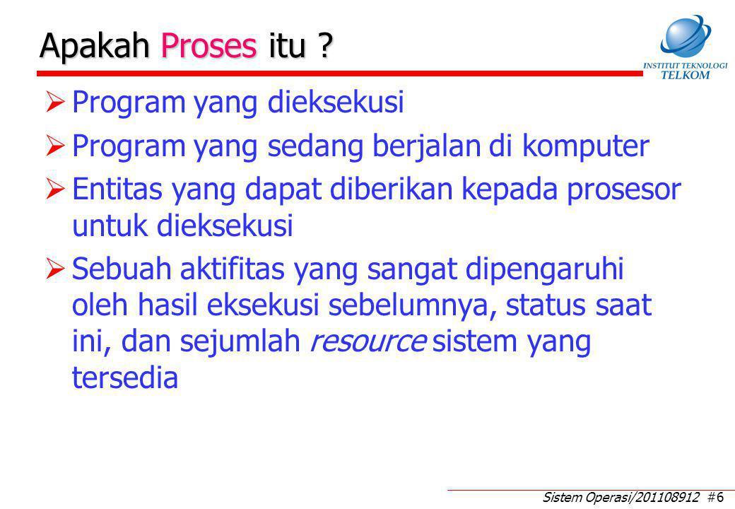 Sistem Operasi/201108912 #6 Apakah Proses itu ?  Program yang dieksekusi  Program yang sedang berjalan di komputer  Entitas yang dapat diberikan ke
