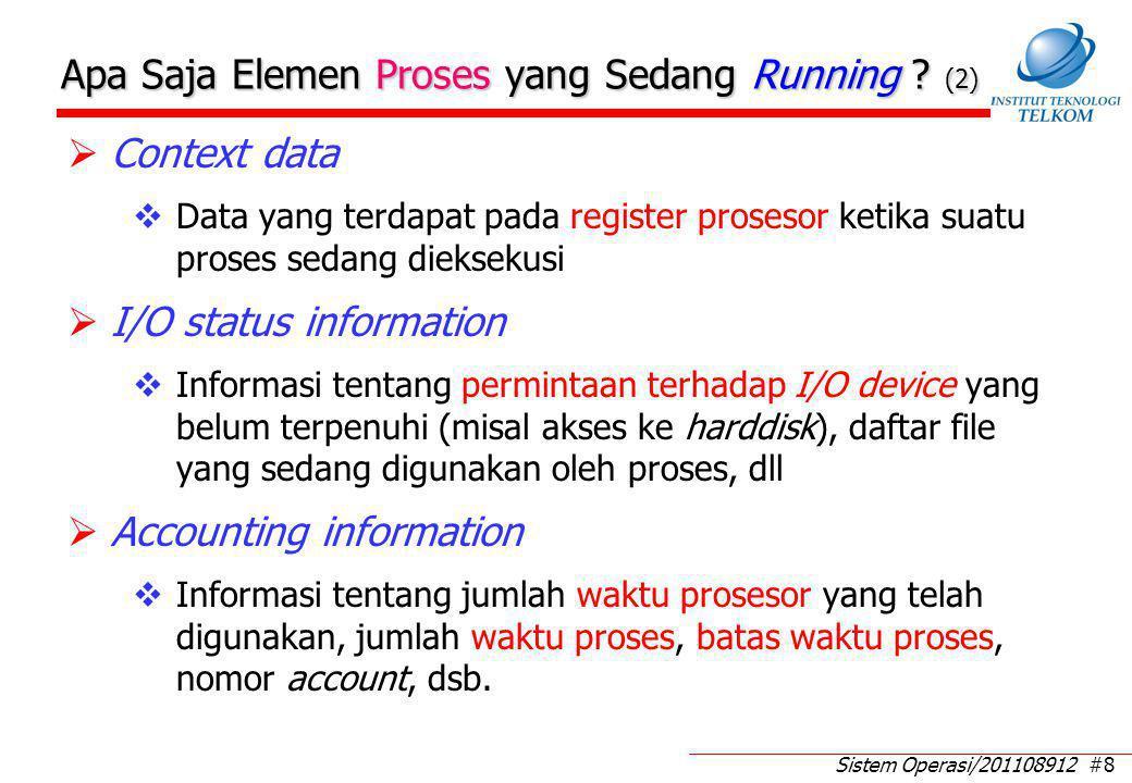 Sistem Operasi/201108912 #29 Perpindahan Status Untuk Proses 5-Status (1)  Null  New:  Pembentukan proses baru  New  Ready:  Penambahan proses baru yang siap dieksekusi  Proses baru telah 'diakui' oleh sistem operasi  Proses dipindah dari harddisk ke memori  Ready  Running:  Satu proses terpilih dieksekusi  Running  Exit:  Proses telah selesai atau dibatalkan  Running  Ready:  Proses yang sedang running dipaksa berhenti (preempted)  Penyebab:  Waktu habis (time out)  Datang proses berprioritas lebih tinggi
