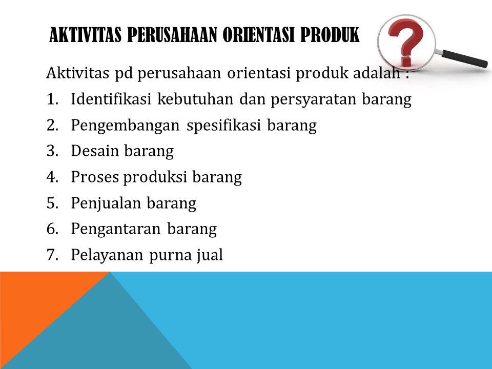 AKTIVITAS PERUSAHAAN ORIENTASI PRODUK Aktivitas pd perusahaan orientasi produk adalah : 1.Identifikasi kebutuhan dan persyaratan barang 2.Pengembangan