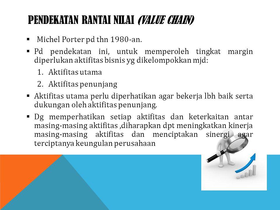 PENDEKATAN RANTAI NILAI (VALUE CHAIN)  Michel Porter pd thn 1980-an.  Pd pendekatan ini, untuk memperoleh tingkat margin diperlukan aktifitas bisnis