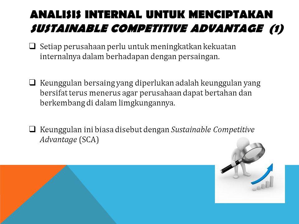 ANALISIS INTERNAL UNTUK MENCIPTAKAN SUSTAINABLE COMPETITIVE ADVANTAGE (1)  Setiap perusahaan perlu untuk meningkatkan kekuatan internalnya dalam berh