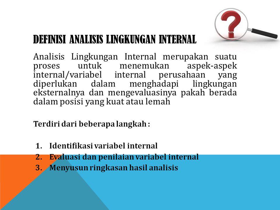 DEFINISI ANALISIS LINGKUNGAN INTERNAL Analisis Lingkungan Internal merupakan suatu proses untuk menemukan aspek-aspek internal/variabel internal perus