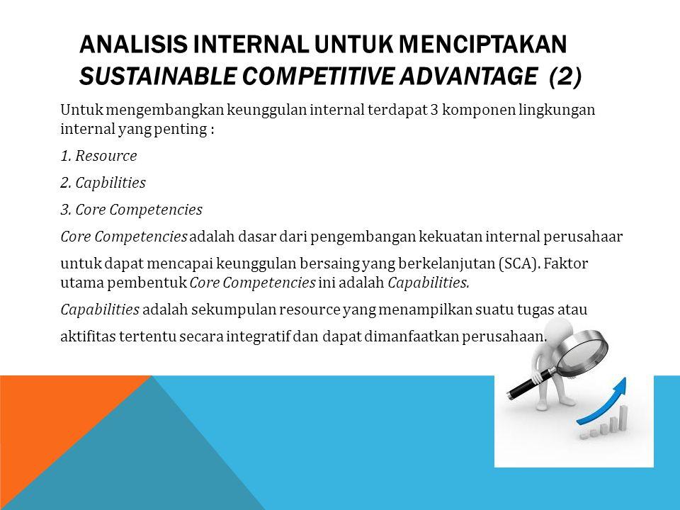 Untuk mengembangkan keunggulan internal terdapat 3 komponen lingkungan internal yang penting : 1. Resource 2. Capbilities 3. Core Competencies Core Co