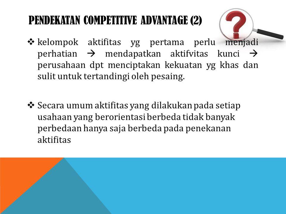 PENDEKATAN COMPETITIVE ADVANTAGE (2)  kelompok aktifitas yg pertama perlu menjadi perhatian  mendapatkan aktifvitas kunci  perusahaan dpt menciptak