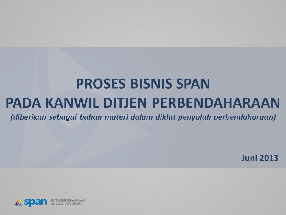 PROSES BISNIS SPAN PADA KANWIL DITJEN PERBENDAHARAAN (diberikan sebagai bahan materi dalam diklat penyuluh perbendaharaan) Juni 2013