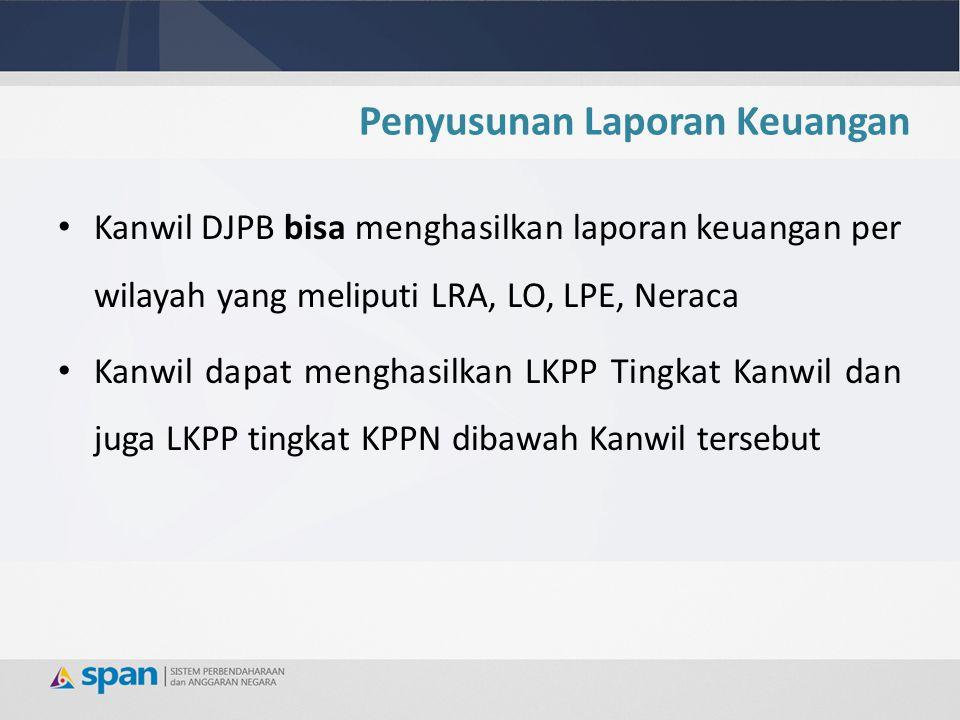 Penyusunan Laporan Keuangan Kanwil DJPB bisa menghasilkan laporan keuangan per wilayah yang meliputi LRA, LO, LPE, Neraca Kanwil dapat menghasilkan LK
