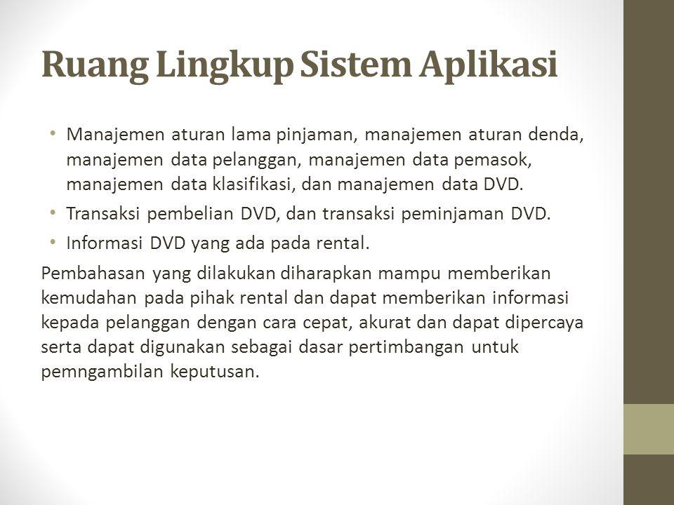 Tujuan Tujuan pembuatan aplikasi pengolahan data DVD di Rental Bunafit Disc Yogyakarta adalah : Untuk melakukan pembuatan perangkat lunak program aplikasi pengolahan data DVD dengan sistem yang terkomputerisasi.
