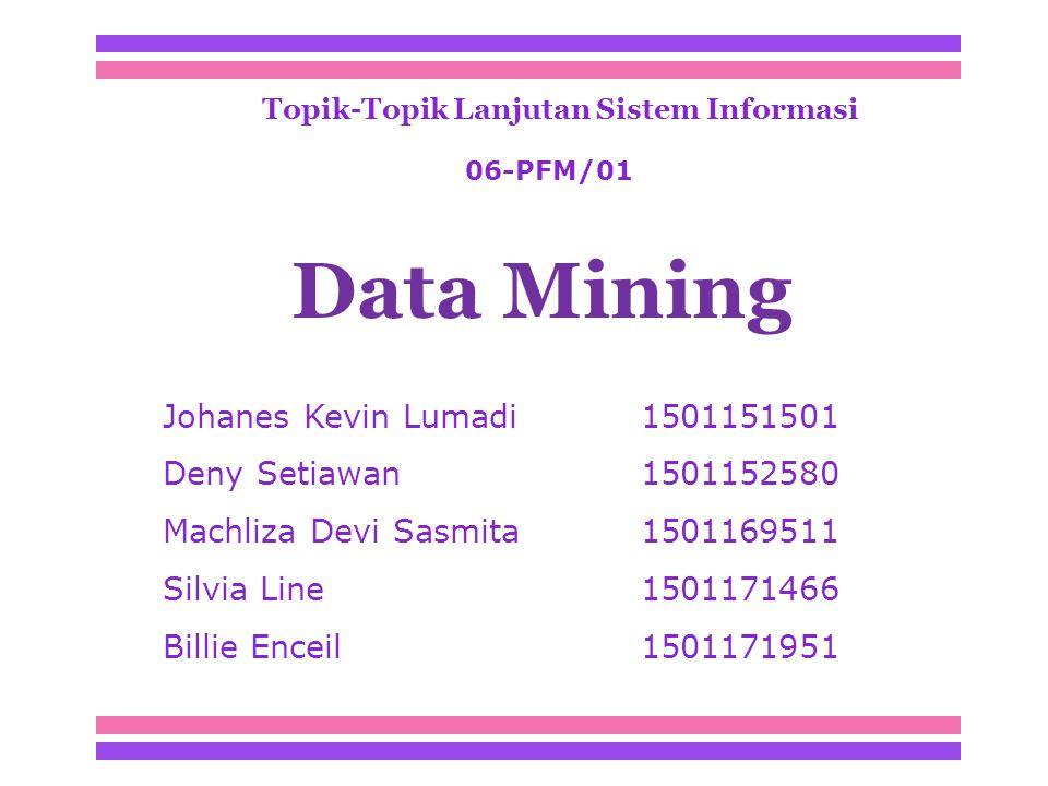 Topik-Topik Lanjutan Sistem Informasi Johanes Kevin Lumadi 1501151501 Deny Setiawan1501152580 Machliza Devi Sasmita 1501169511 Silvia Line1501171466 Billie Enceil1501171951 Data Mining 06-PFM/01