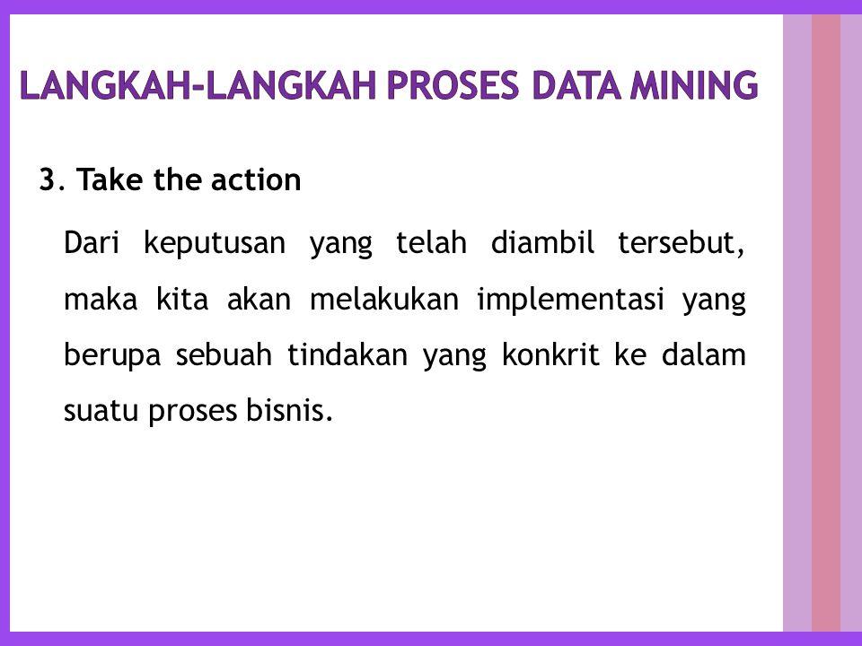3. Take the action Dari keputusan yang telah diambil tersebut, maka kita akan melakukan implementasi yang berupa sebuah tindakan yang konkrit ke dalam