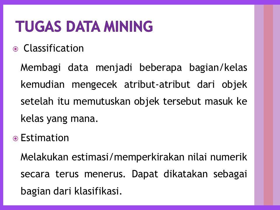  Classification Membagi data menjadi beberapa bagian/kelas kemudian mengecek atribut-atribut dari objek setelah itu memutuskan objek tersebut masuk ke kelas yang mana.