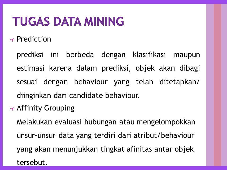  Prediction prediksi ini berbeda dengan klasifikasi maupun estimasi karena dalam prediksi, objek akan dibagi sesuai dengan behaviour yang telah ditetapkan/ diinginkan dari candidate behaviour.