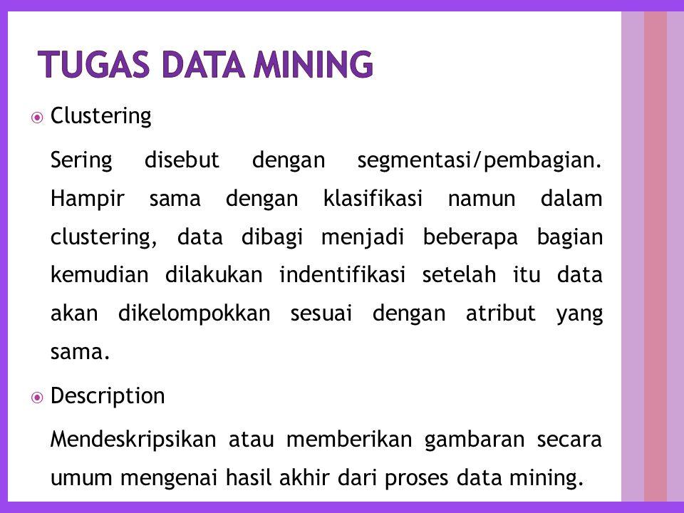  Clustering Sering disebut dengan segmentasi/pembagian.