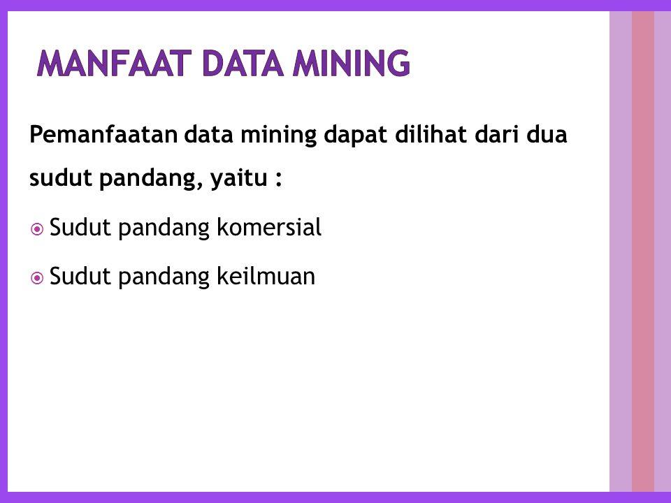 Pemanfaatan data mining dapat dilihat dari dua sudut pandang, yaitu :  Sudut pandang komersial  Sudut pandang keilmuan