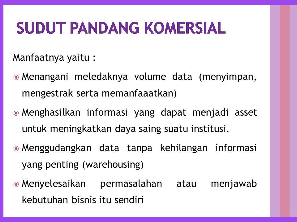 Manfaatnya yaitu :  Menangani meledaknya volume data (menyimpan, mengestrak serta memanfaaatkan)  Menghasilkan informasi yang dapat menjadi asset untuk meningkatkan daya saing suatu institusi.