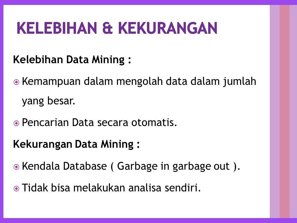 Kelebihan Data Mining :  Kemampuan dalam mengolah data dalam jumlah yang besar.