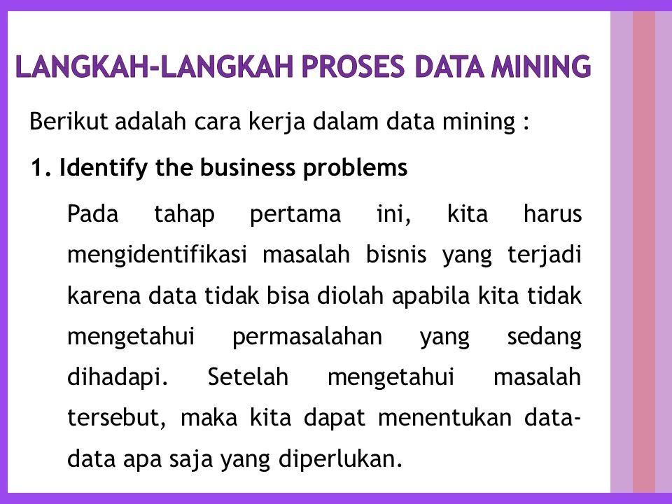 Berikut adalah cara kerja dalam data mining : 1.