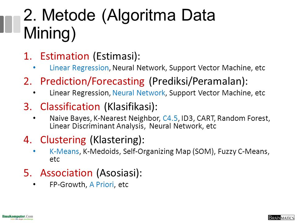 2. Metode (Algoritma Data Mining) 1.Estimation (Estimasi): Linear Regression, Neural Network, Support Vector Machine, etc 2.Prediction/Forecasting (Pr
