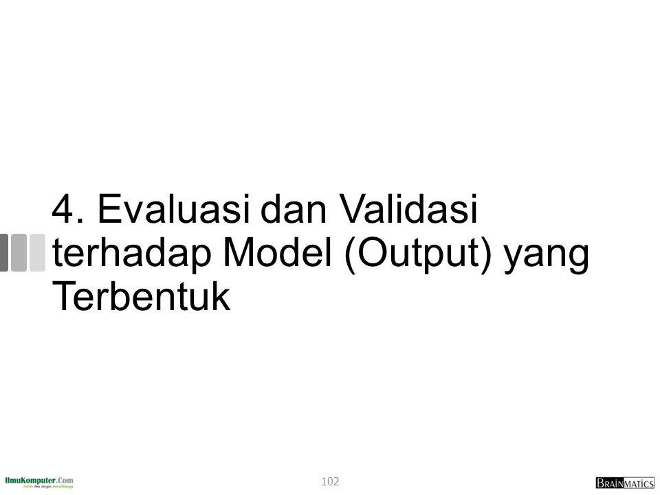4. Evaluasi dan Validasi terhadap Model (Output) yang Terbentuk 102