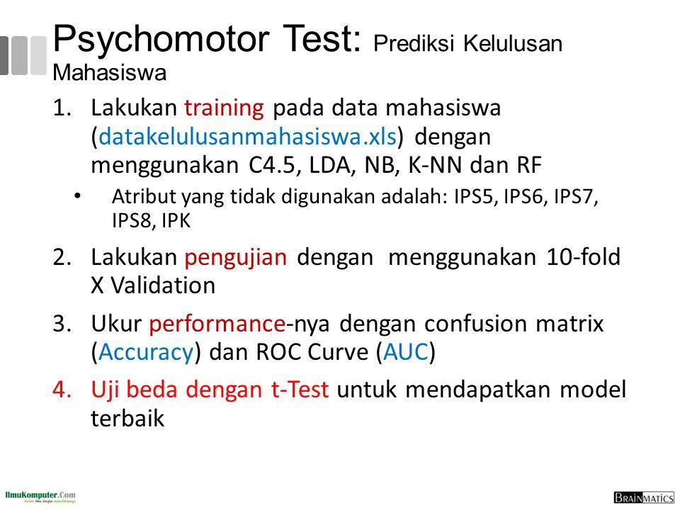Psychomotor Test: Prediksi Kelulusan Mahasiswa 1.Lakukan training pada data mahasiswa (datakelulusanmahasiswa.xls) dengan menggunakan C4.5, LDA, NB, K