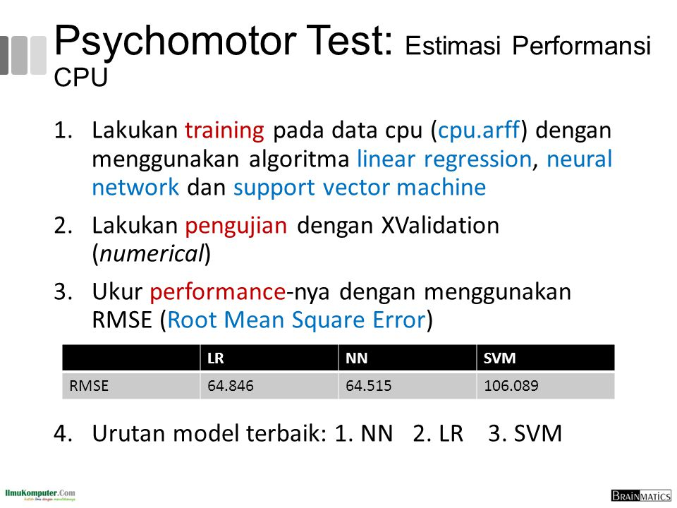 Psychomotor Test: Estimasi Performansi CPU 1.Lakukan training pada data cpu (cpu.arff) dengan menggunakan algoritma linear regression, neural network