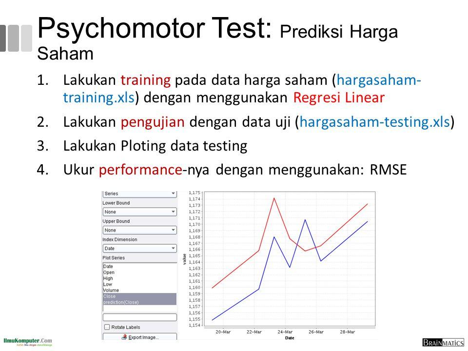 Psychomotor Test: Prediksi Harga Saham 1.Lakukan training pada data harga saham (hargasaham- training.xls) dengan menggunakan Regresi Linear 2.Lakukan