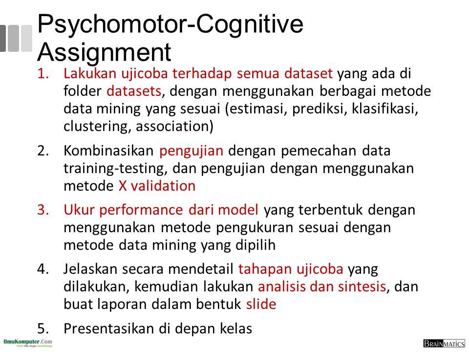Psychomotor-Cognitive Assignment 1.Lakukan ujicoba terhadap semua dataset yang ada di folder datasets, dengan menggunakan berbagai metode data mining