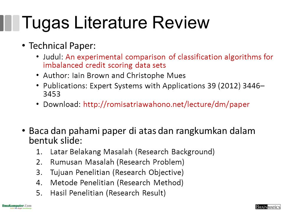Tugas Literature Review Technical Paper: Judul: An experimental comparison of classification algorithms for imbalanced credit scoring data sets Author