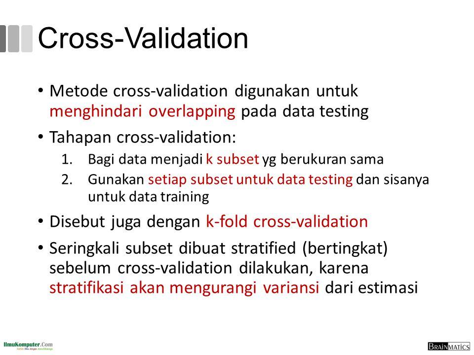 Cross-Validation Metode cross-validation digunakan untuk menghindari overlapping pada data testing Tahapan cross-validation: 1.Bagi data menjadi k sub