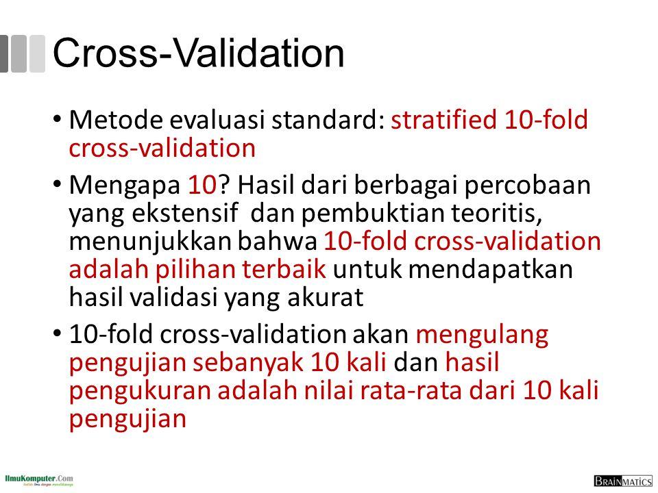 Cross-Validation Metode evaluasi standard: stratified 10-fold cross-validation Mengapa 10? Hasil dari berbagai percobaan yang ekstensif dan pembuktian