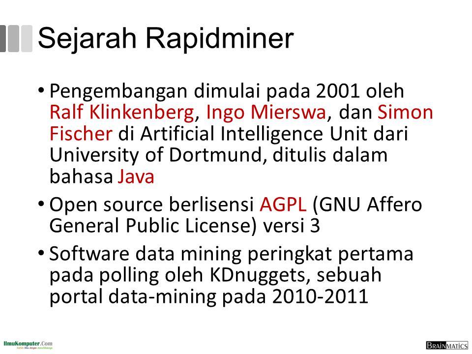 Sejarah Rapidminer Pengembangan dimulai pada 2001 oleh Ralf Klinkenberg, Ingo Mierswa, dan Simon Fischer di Artificial Intelligence Unit dari Universi