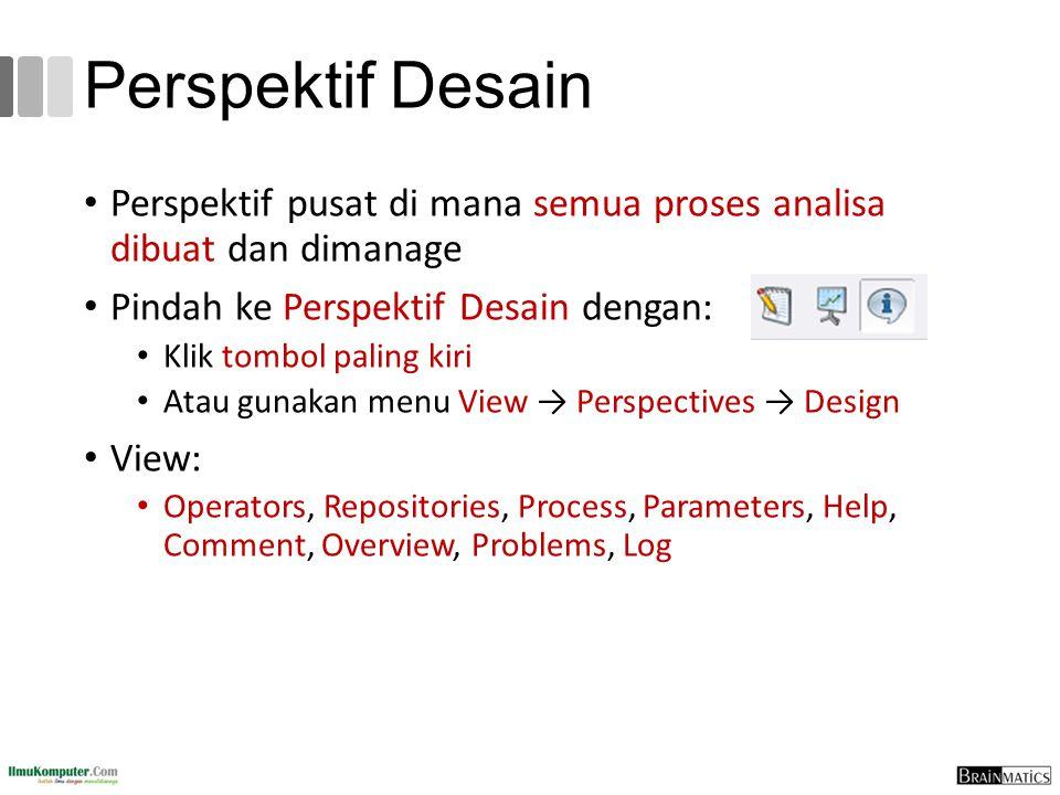 Perspektif Desain Perspektif pusat di mana semua proses analisa dibuat dan dimanage Pindah ke Perspektif Desain dengan: Klik tombol paling kiri Atau g